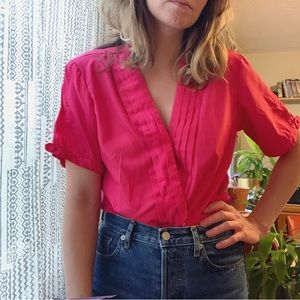 Vintage pleated cross-over top